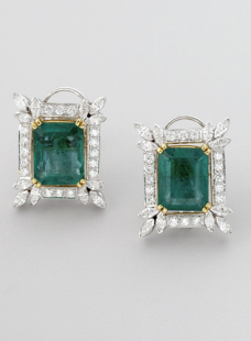 Tops Pair of Emerald and Diamonds.