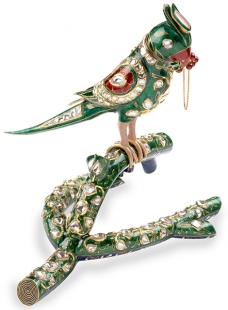 Life-Size Parrot in Enamel Work Set with Uncut Diamonds