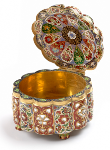 Enamel Box Set with Uncut Diamonds