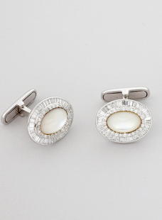 Cufflink Pair Diamonds and Moon Stone.