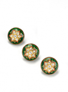 Sherwani Button Jadau and Enamel work Set with Uncut Diamond