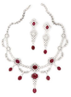 Necklace Set Rubies and Diamonds