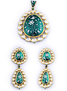 Pendant Set in Green Enamel Set with Uncut Diamonds