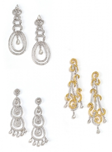 Earing Pair of Diamond and Colour Stones.