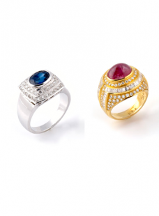 Diamond Ring with Blue Sapphire and Ruby.
